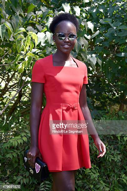 Actress Lupita Nyong'o attends the Christian Dior show as part of Paris Fashion Week Haute Couture Fall/Winter 2015/2016 on July 6 2015 in Paris...