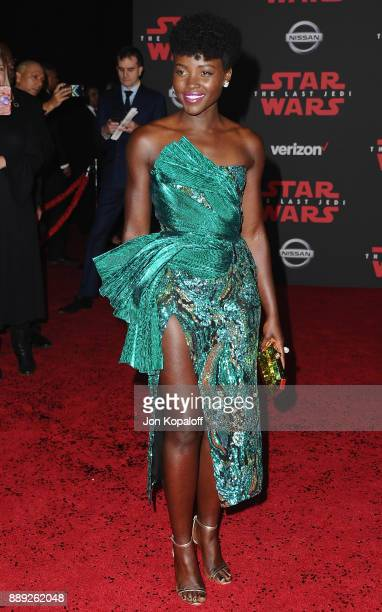 Actress Lupita Nyong'o attends the Los Angeles Premiere 'Star Wars The Last Jedi' at The Shrine Auditorium on December 9 2017 in Los Angeles...