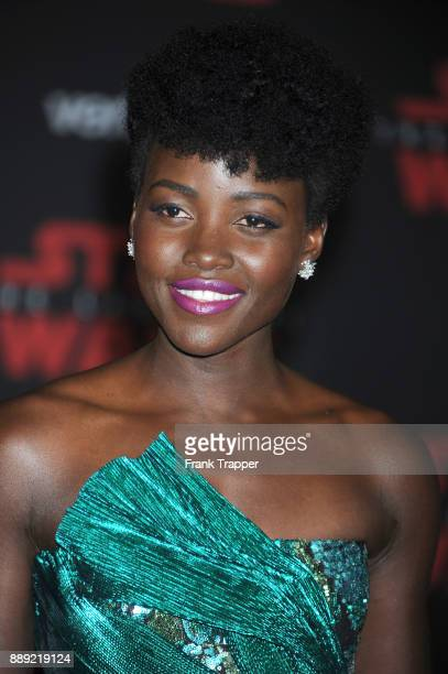 Actress Lupita Nyong'o attends the premiere of Disney Pictures and Lucasfilm's 'Star Wars The Last Jedi' held at The Shrine Auditorium on December 9...
