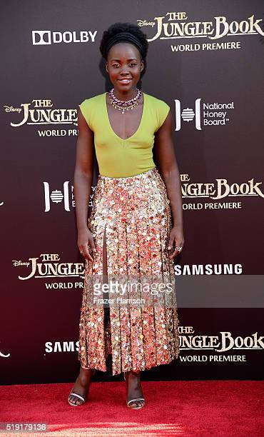 Actress Lupita Nyong'o attends the premiere of Disney's 'The Jungle Book' at the El Capitan Theatre on April 4 2016 in Hollywood California
