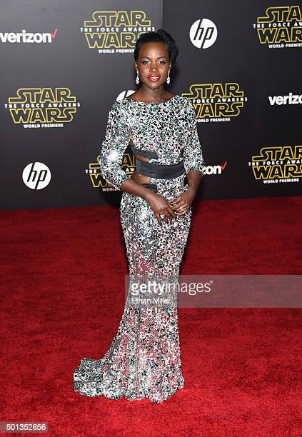 Actress Lupita Nyong'o attends the premiere of Walt Disney Pictures and Lucasfilm's Star Wars The Force Awakens at the Dolby Theatre on December 14...