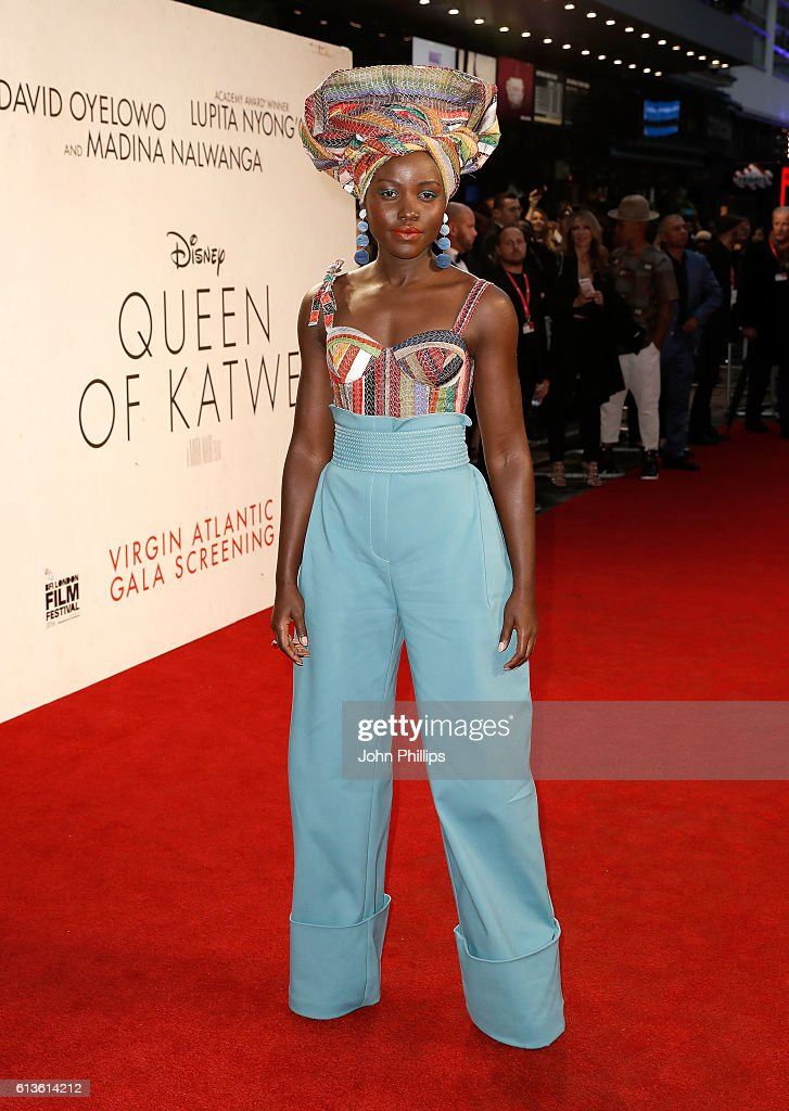 Actress Lupita Nyong'o attends the 'Queen Of Katwe' Virgin Atlantic Gala screening during the 60th BFI London Film Festival at Odeon Leicester Square on October 9, 2016 in London, England.
