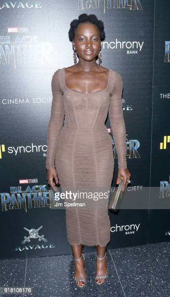 Actress Lupita Nyong'o attends the screening of Marvel Studios' 'Black Panther' hosted by The Cinema Society with Ravage Wines and Synchrony at...