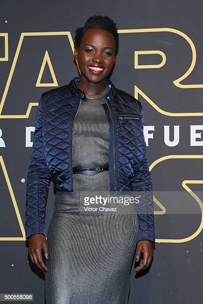 """Actress Lupita Nyong'o attends the """"Star Wars: The Force Awakens"""" Mexico City premiere fan event at Cinemex Antara Polanco on December 8, 2015 in..."""