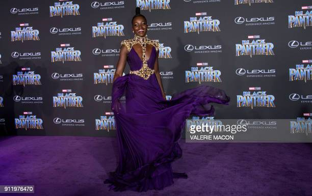 TOPSHOT Actress Lupita Nyong'o attends the world premiere of Marvel Studios Black Panther on January 29 in Hollywood California / AFP PHOTO / VALERIE...