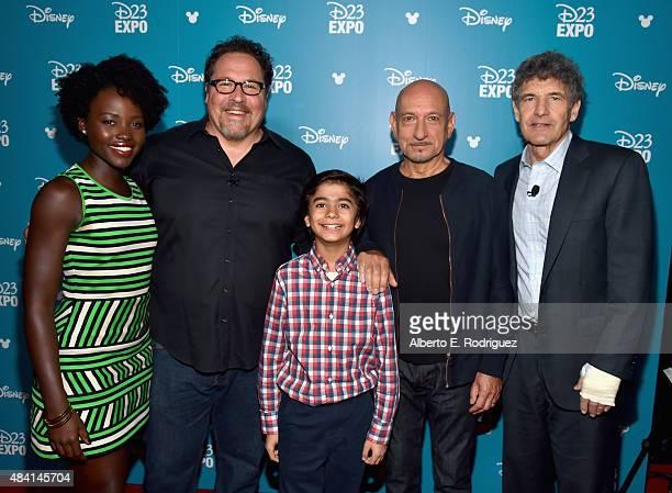 Actress Lupita Nyong'o director Jon Favreau actors Neel Sethi and Ben Kingsley of THE JUNGLE BOOK and Chairman of the Walt Disney Studios Alan Horn...