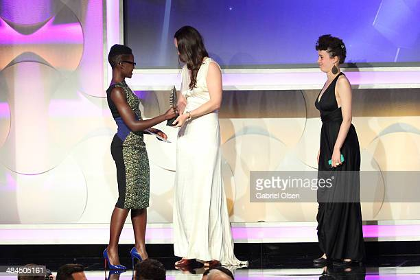 Actress Lupita Nyong'o filmmaker Katherine Fairfax Wright and director Malika ZouhaliWorral onstage during the 25th Annual GLAAD Media Awards at The...