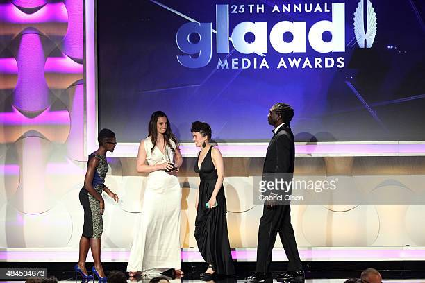 Actress Lupita Nyong'o filmmaker Katherine Fairfax Wright director Malika ZouhaliWorral and actor John Long Jones Abdallah Wambere speak onstage...