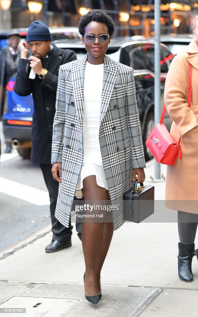Actress Lupita Nyong'o is seen arriving at 'Good Morning America' on February 14, 2018 in New York City.