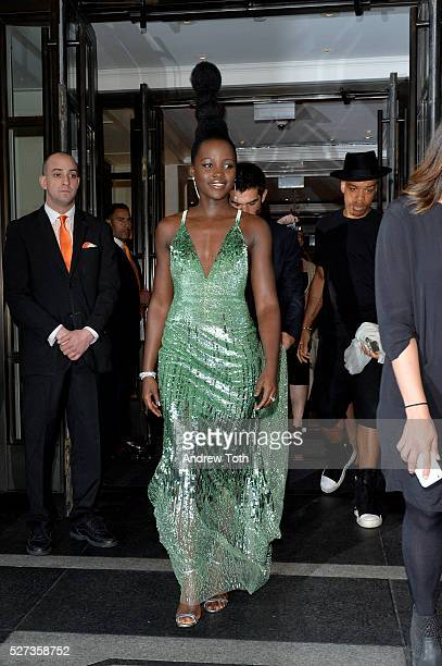 Actress Lupita Nyong'o leaves from The Mark Hotel for the 2016 'Manus x Machina Fashion in an Age of Technology' Met Gala on May 2 2016 in New York...