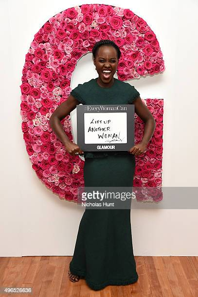 Actress Lupita Nyong'o poses for a photo at the backstage inspiration wall at the 2015 Glamour Women of the Year Awards at Carnegie Hall on November...