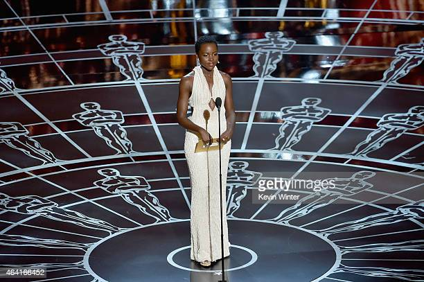 Actress Lupita Nyong'o presents onstage during the 87th Annual Academy Awards at Dolby Theatre on February 22 2015 in Hollywood California