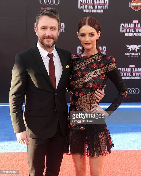 Actress Lydia Hearst and Chris Hardwick arrive at the premiere of Marvel's 'Captain America Civil War' on April 12 2016 in Hollywood California