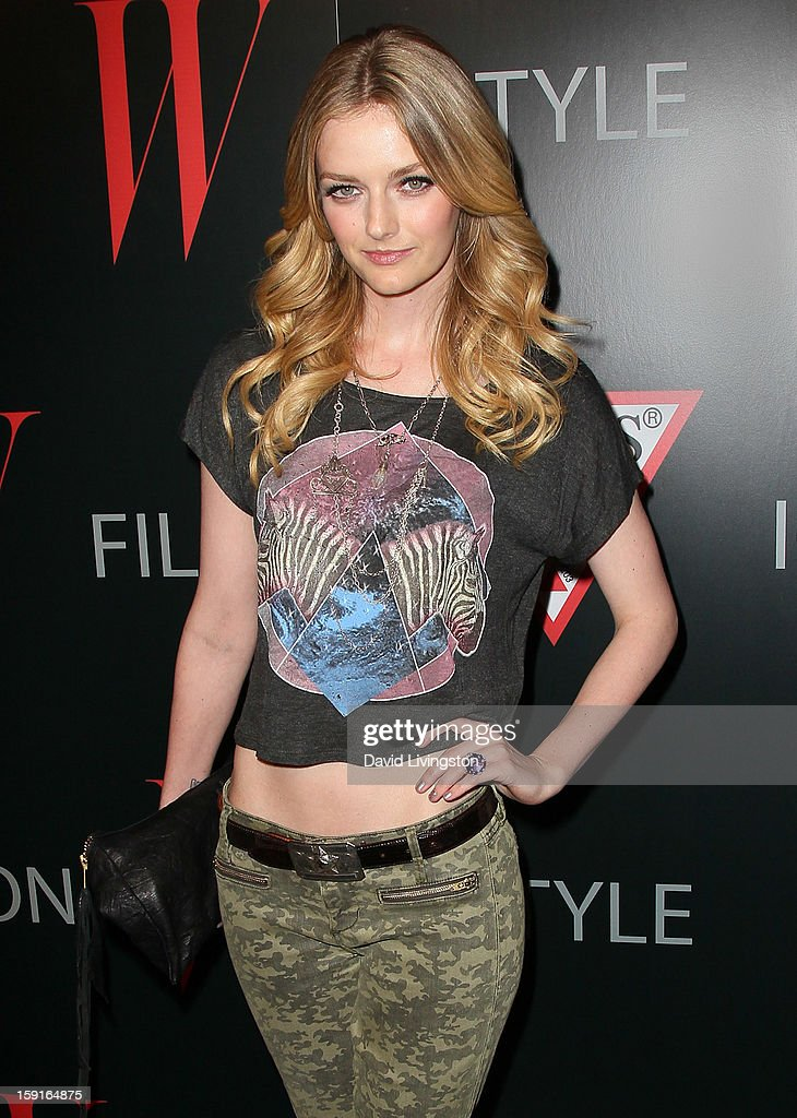 Actress Lydia Hearst attends W Magazine and Guess celebrating 30 years of fashion and film and the next generation of style icons at Laurel Hardware on January 8, 2013 in West Hollywood, California.