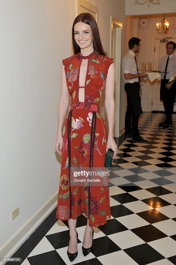 Actress Lydia Hearst, wearing Burberry, attends the Vanity Fair and Burberry event celebrating Felicity Jones and the British Academy Britannia Awards at Chateau Marmont on October 27, 2016 in Los Angeles, California.