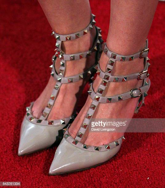Actress Lydia Hull shoe detail attends the Lionsgate premiere of 'Marauders' at TCL Chinese 6 Theatres on June 26 2016 in Hollywood California