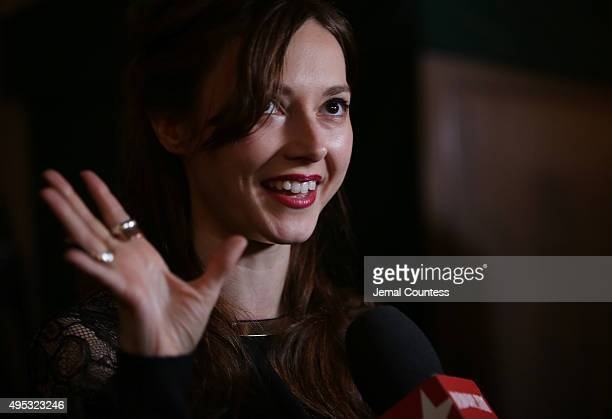 Actress Lydia Wilson speaks to the media at the King Charles III Broadway opening night after party at the Bryant Park Grill on November 1 2015 in...