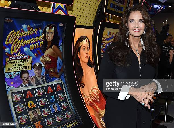Actress Lynda Carter appears at the Bally Technologies booth to introduce two of the company's new slot machines Wonder Woman Wild and Wonder Woman...