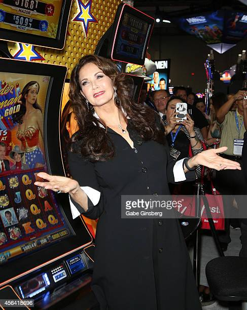 Actress Lynda Carter appears at the Bally Technologies booth to introduce two of the company's two new slot machines Wonder Woman Wild and Wonder...