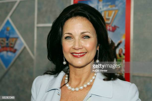 """Actress Lynda Carter arrives at the premiere of """"Sky High"""" at the El Capitan Theater on July 24, 2005 in Hollywood, California."""