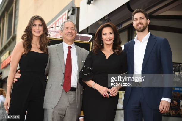 Actress Lynda Carter attends her star unveiling ceremony with husband Robert A Altman and their children Jessica Altman and James Altman on the...