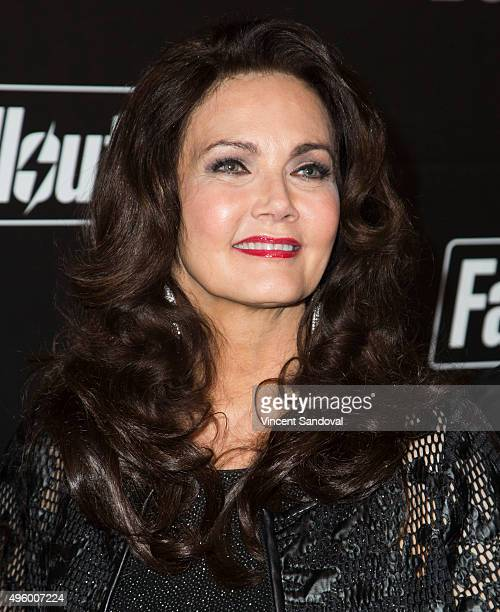 Actress Lynda Carter attends the Fallout 4 video game launch event in downtown Los Angeles on November 5 2015 in Los Angeles California