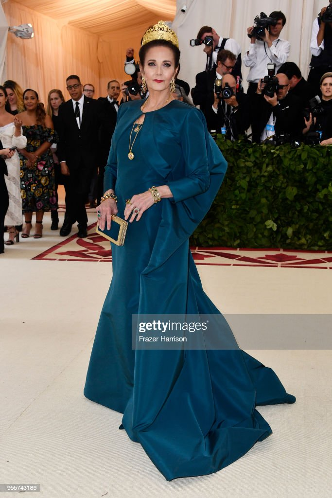 Actress Lynda Carter attends the Heavenly Bodies: Fashion & The Catholic Imagination Costume Institute Gala at The Metropolitan Museum of Art on May 7, 2018 in New York City.