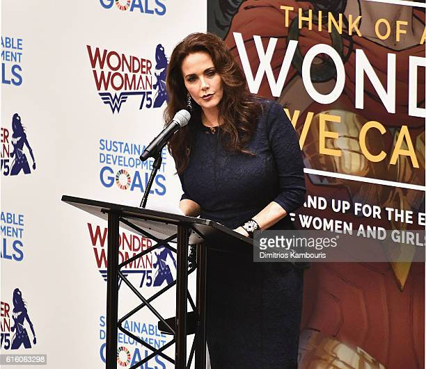 Actress Lynda Carter attends the Wonder Woman UN Ambassador Ceremony at United Nations on October 21 2016 in New York City