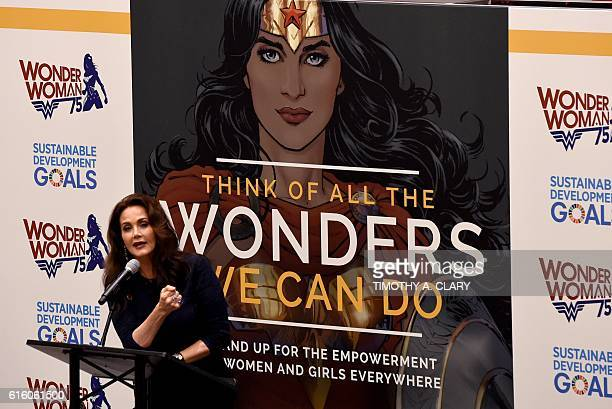 Actress Lynda Carter speaks during a ceremony as the UN names the comic character Wonder Woman its Honorary Ambassador for the Empowerment of Women...