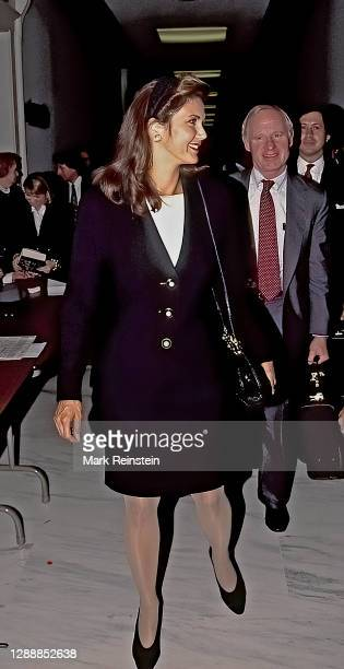 Actress Lynda Carter wife of American Bankshares president Robert Altman and Margery Clifford wife of Clark Clifford arrive at the Rayburn House...