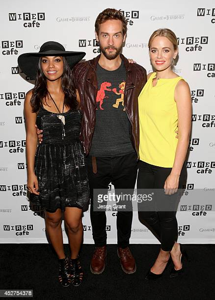 Actress Lyndie Greenwood Tom Mison and Katia Winter attend day 3 of the WIRED Cafe @ Comic Con at Omni Hotel on July 26 2014 in San Diego California