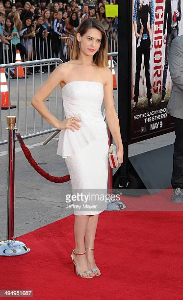Actress Lyndsy Fonseca arrives at the Los Angeles premiere of 'Neighbors' at Regency Village Theatre on April 28 2014 in Westwood California