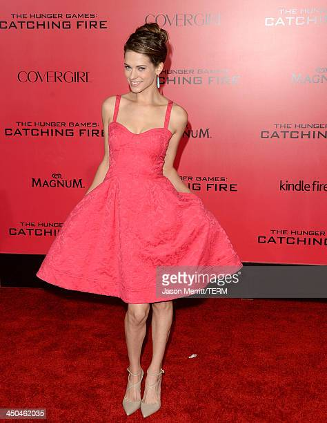 Actress Lyndsy Fonseca arrives at the premiere of Lionsgate's The Hunger Games Catching Fire at Nokia Theatre LA Live on November 18 2013 in Los...