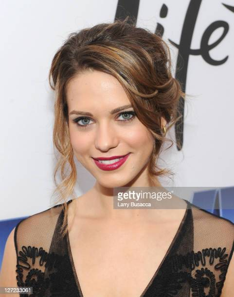 Actress Lyndsy Fonseca attends the premiere of Lifetime's Five from Jennifer Aniston Demi Moore Alicia Keys at Skylight on September 26 2011 in New...