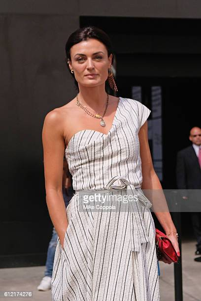 Actress Lyne Renee from PBS MERCY STREET poses for a picture outside of New York Fashion Week The Shows Day 7 on September 14 2016 in New York City