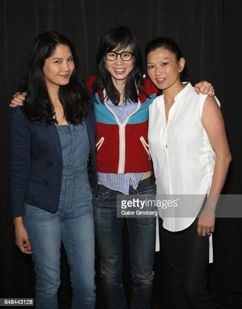 Actress Lynn Chen writer/director Alice Wu and actress Michelle Krusiec attend the 'Saving Face Reunion' panel during the ClexaCon 2017 convention at...