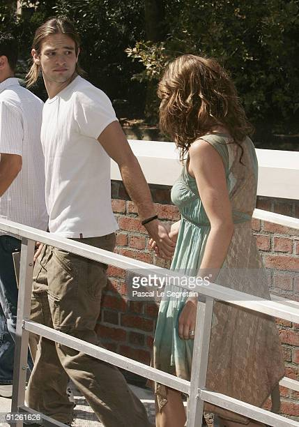 Actress Lynn Collins and boyfriend Charlie Cox arrive by boat for the The Merchant Of Venice Photocall at the 61st Venice Film Festival on September...