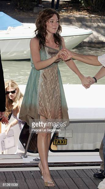 Actress Lynn Collins arrives by boat for the The Merchant Of Venice Photocall at the 61st Venice Film Festival on September 4 2004 in Venice Italy