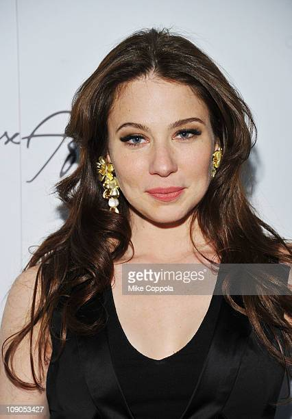 Actress Lynn Collins backstage at the Max Azria Fall 2011 fashion show during MercedesBenz Fashion Week at The Stage at Lincoln Center on February 13...