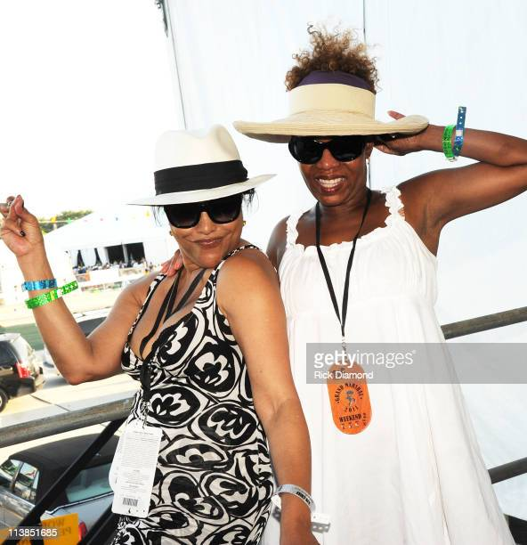 COVERAGE*** Actress Lynn Whitfield and Actress Alfie Woodard backage during the 2011 New Orleans Jazz Heritage Festival at The Fair Grounds Race...