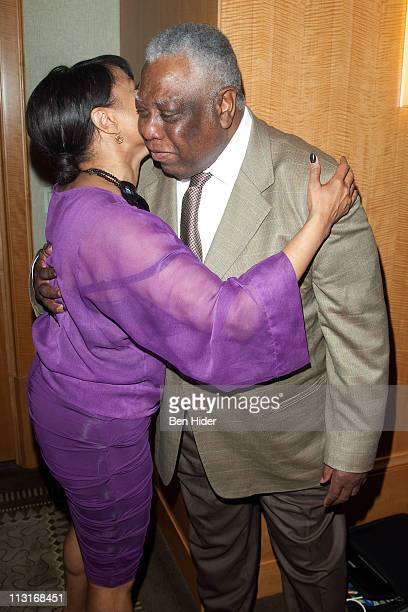 Actress Lynn Whitfield and director Woodie King Jr attend Woodie King Jr's New Federal Theatre's 40th anniversary gala at Trump Plaza on April 25...