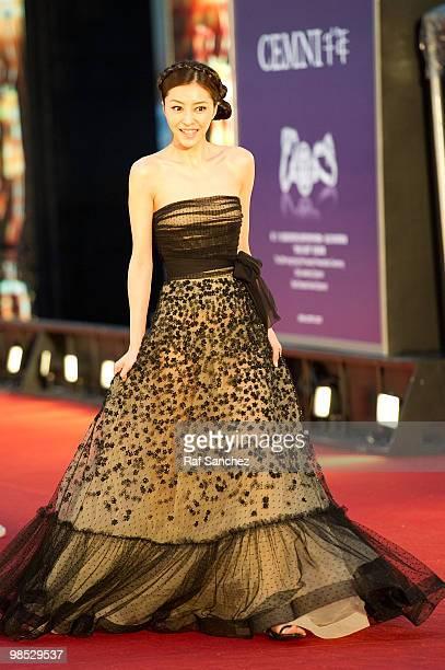 Actress Lynn Xiong Dailin arrives at the 29th Hong Kong Film Awards at the The Hong Kong Cultural Centre on April 18 2010 in Hong Kong Hong Kong