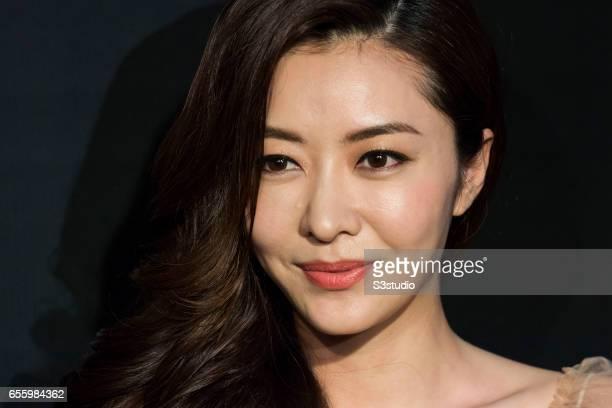 Actress Lynn Xiong poses on the red carpet during the 11th Asian Film Awards on March 21, 2017 at Hong Kong Cultural Centre in Hong Kong, Hong Kong.