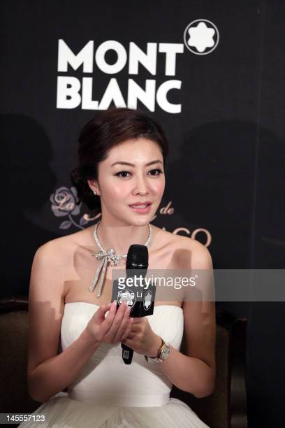 Actress Lynn Xiong speaks during interviews for the official opening of the Montblanc Sanlitun Concept Store held at the JW Marriott Hotel Beijing on...