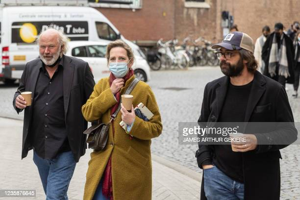 Actress Maaike Cafmeyer and her husband Frans Grapperhaus arrive for a session of the Criminal Court in Mechelen in the trial of television producer...