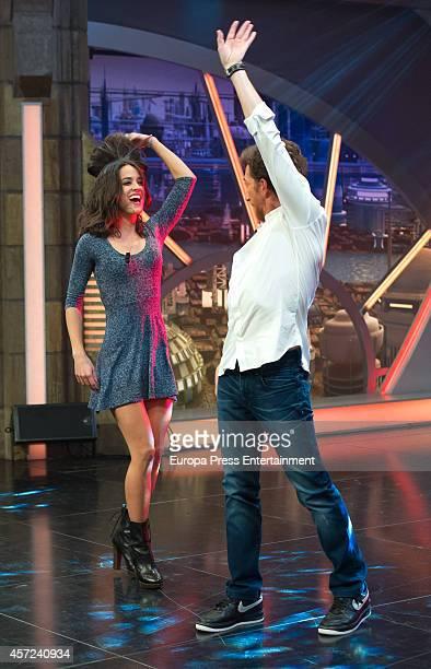 Actress Macarena Garcia and Tv presenter Pablo Motos attend 'El Hormiguero' TV show on October 14 2014 in Madrid Spain