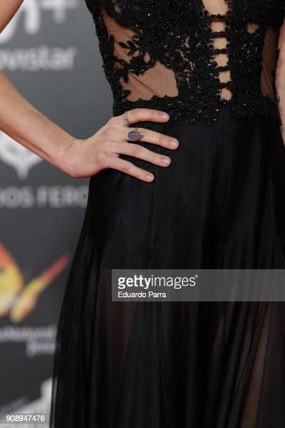 Actress Macarena Garcia ring detail attends Feroz Awards 2018 at Magarinos Complex on January 22 2018 in Madrid Spain