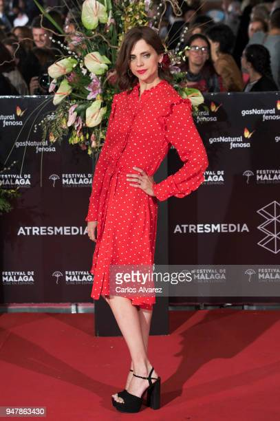 Actress Macarena Gomez attends 'Las Distancias' premiere during the 21th Malaga Film Festival at the Cervantes Theater on April 17 2018 in Malaga...