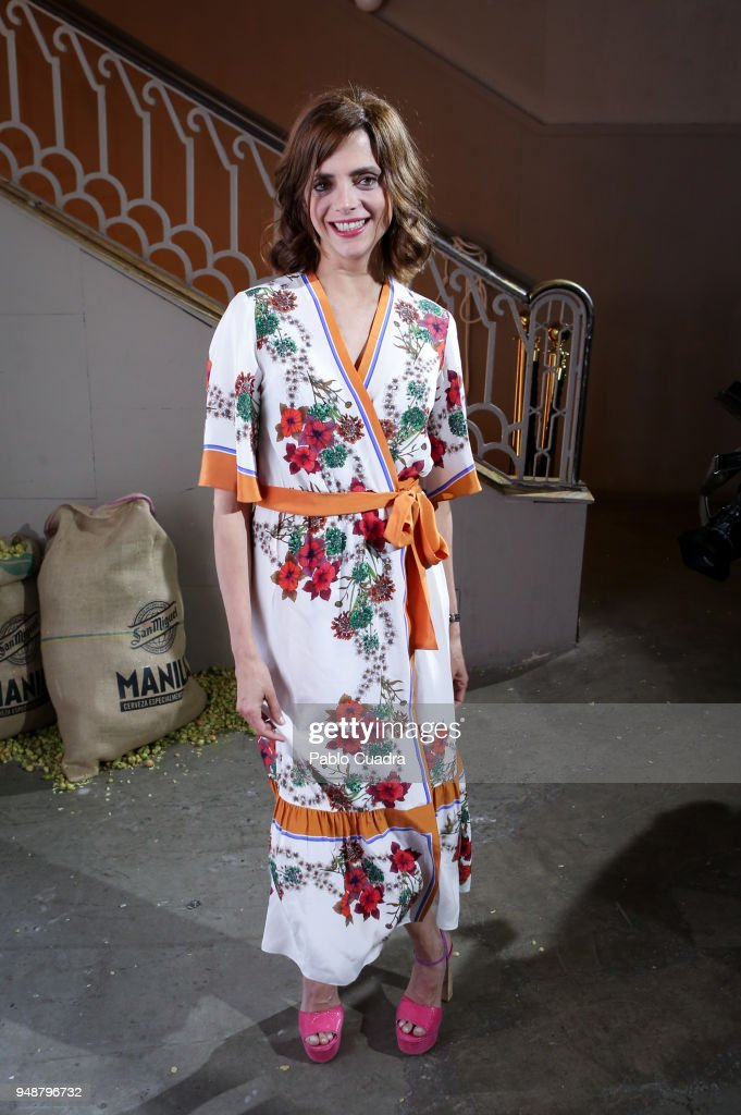 Actress Macarena Gomez attends the Manila beer presentation at Equis club on April 19, 2018 in Madrid, Spain.