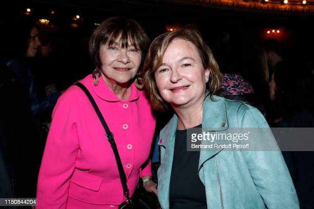 """Actress Macha Meril and politician Nathalie Loiseau attend Bernard-Henri Levy performs in """"Looking for Europe"""" at Theatre Antoine on May 21, 2019 in..."""